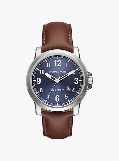 Paxton Silver-Tone and Leather Watch by Michael Kors