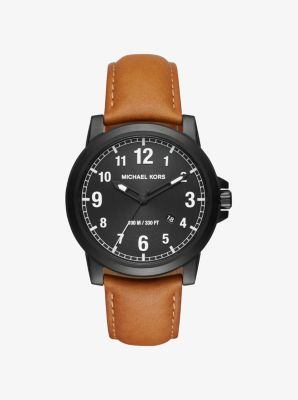 Paxton Black-Tone and Leather Watch by Michael Kors