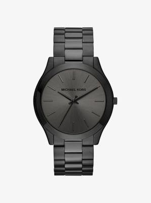 마이클 코어스 메탈 시계 Michael Kors Slim Runway Black-Tone Stainless Steel Watch,BLACK