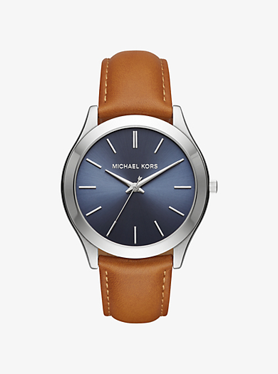 Slim Runway Silver-Tone and Leather Watch by Michael Kors
