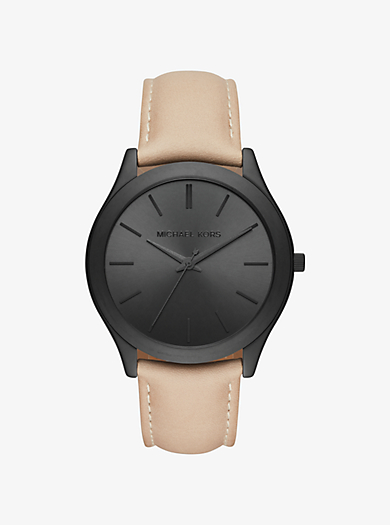 Slim Runway Black-Tone and Leather Watch by Michael Kors