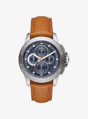 Ryker Silver-Tone and Leather Watch by Michael Kors