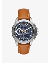 Ryker Silver-Tone and Leather Watch