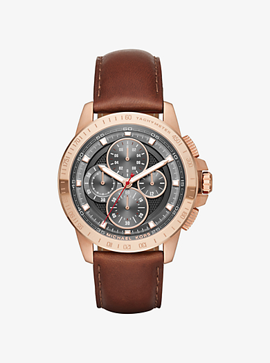 Ryker Rose Gold-Tone and Leather Watch by Michael Kors