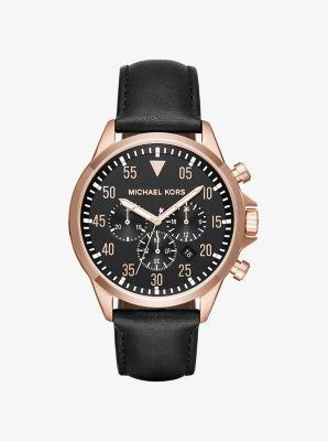 Gage Rose-Gold Tone and Leather Watch by Michael Kors