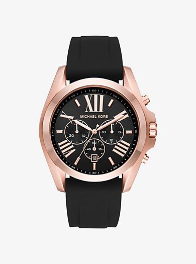 Armbanduhr Bradshaw im Rosé-Goldton mit Silikonarmband by Michael Kors