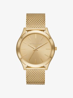 마이클 코어스 메탈 시계 Michael Kors Slim Runway Mesh Gold-Tone Watch,GOLD