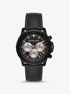 Michael Kors Cortlandt Black-Tone and Leather Watch,BLACK