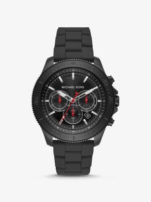 마이클 코어스 맨 시계 Michael Kors Oversized Cortlandt Black-Tone and Silicone Watch,BLACK