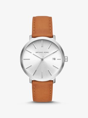 Michael Kors Blake Silver-Tone and Leather Watch,LUGGAGE