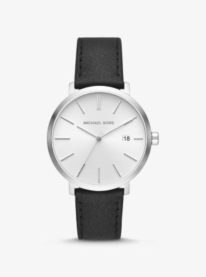 Michael Kors Blake Silver-Tone and Leather Watch,BLACK