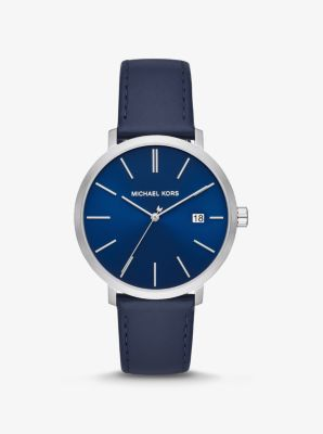 Michael Kors Blake Silver-Tone and Leather Watch,NAVY