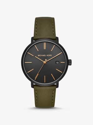 Michael Kors Blake Black-Tone and Leather Watch,OLIVE