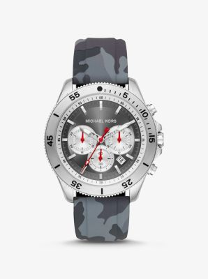 마이클 코어스 손목시계 Michael Kors Oversized Cortlandt Silver-Tone and Camo Silicone Watch,CAMOUFLAGE