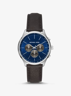 Michael Kors Sutter Leather and Silver-Tone Watch,BLACK