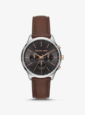 Michael Kors Sutter Leather and Silver-Tone Watch,AMBER