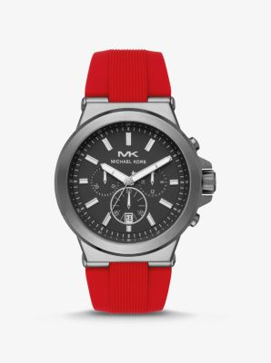 마이클 코어스 맨 손목 시계 Michael Kors Oversized Dylan Gunmetal-Tone and Silicone Watch,RED