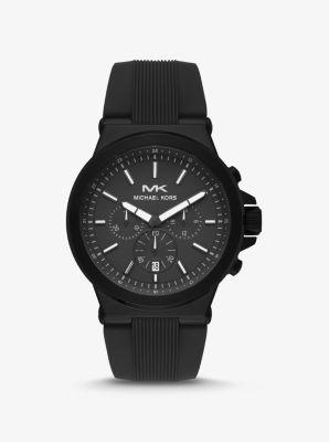 마이클 코어스 여성 시계 Michael Kors Oversized Dylan Black-Tone and Silicone Watch,BLACK