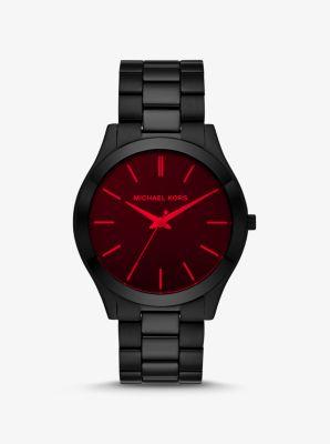 Michael Kors Slim Runway Black-Tone and Red Crystal Watch,BLACK
