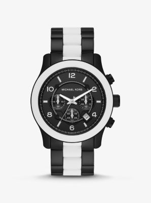 Michael Kors Oversized Runway Black-Tone and Silicone Watch,WHITE