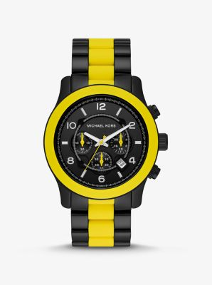 Michael Kors Oversized Runway Black-Tone and Silicone Watch,YELLOW
