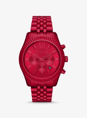 마이클 코어스 손목 시계 Michael Kors Oversized Lexington Red-Tone Watch,RED