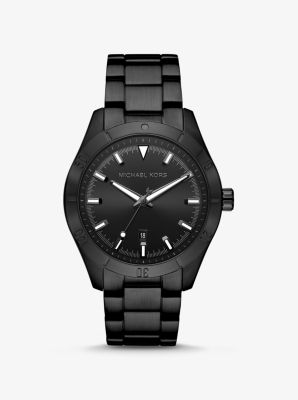 마이클 코어스 남성 시계 Michael Kors Oversized Layton Black-Tone Watch,BLACK
