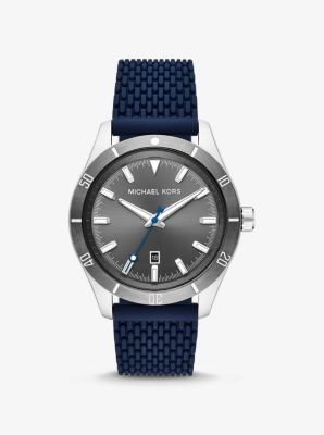 마이클 코어스 남성 시계 Michael Kors Oversized Layton Silver-Tone and Silicone Watch,NAVY