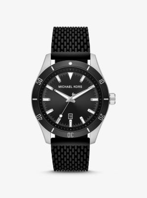 마이클 코어스 맨 시계 Michael Kors Oversized Layton Silver-Tone and Silicone Watch,BLACK