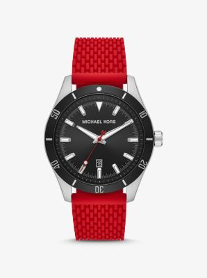 마이클 코어스 맨 시계 Michael Kors Oversized Layton Silver-Tone and Silicone Watch,RED