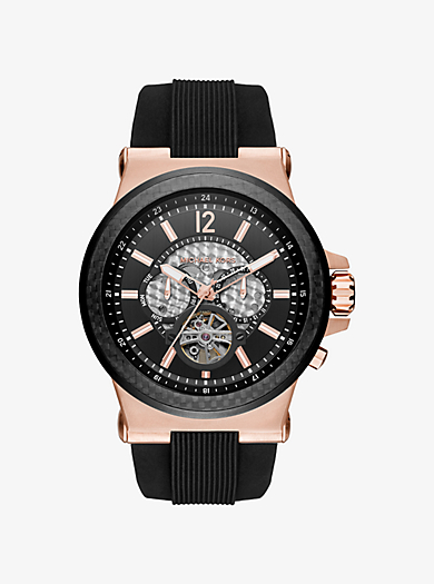 Dylan Automatic Rose Gold-Tone and Silicone Watch by Michael Kors