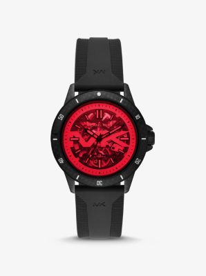 마이클 코어스 손목시계 Michael Kors Bayville Silicone and Red Crystal Skeleton Watch,RED