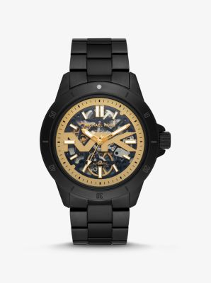 Michael Kors Bayville Black-Tone and Silicone Skeleton Watch,BLACK