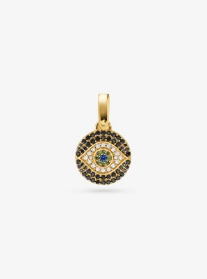 Michael Kors 14K Gold-Plated Sterling Silver Pave Evil Eye Charm,GOLD