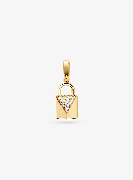 Michael Kors 14K GOLD-PLATED STERLING SILVER PAVÉ LOCK CHARM