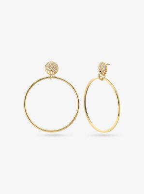 Michael Kors 14K Gold-Plated Sterling Silver Pave Hoop Drop Earrings,GOLD