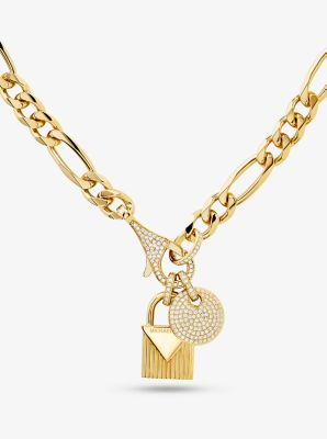 마이클 코어스 자물쇠 디스크 목걸이 - 골드 Michael Kors 14K Gold-Plated Sterling Silver Disk and Lock Necklace,GOLD