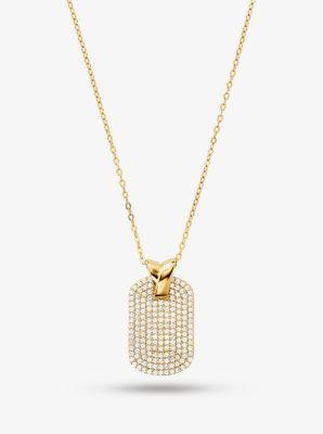 마이클 코어스 목걸이 Michael Kors Precious Metal-Plated Sterling Silver Pave Dog Tag Necklace
