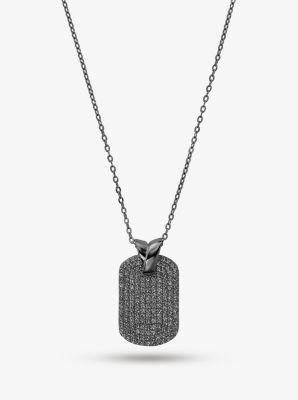 마이클 코어스 목걸이 Michael Kors Black Rhodium-Plated Sterling Silver Pave Dog Tag Necklace,BLACK