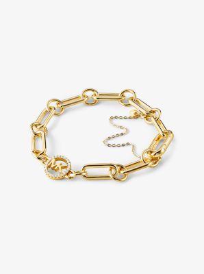 마이클 코어스 팔찌 Michael Kors Precious Metal-Plated Sterling Silver Curb Link Starter Bracelet,GOLD