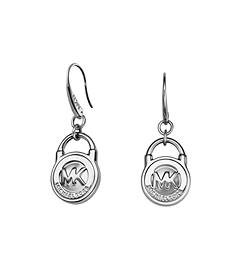 Logo PadLock Silver-Tone Earrings