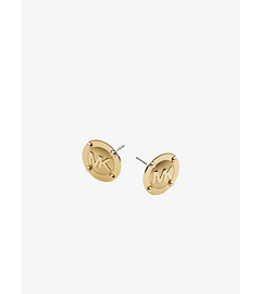 Logo Button Gold-Tone Earrings