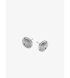 Logo Button Silver-Tone Earrings