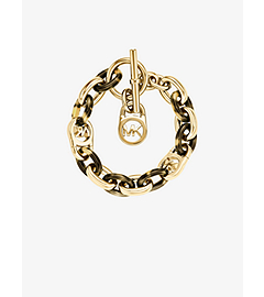 Gold-Tone and Tortoise Acetate Chain-Link PadLock Bracelet