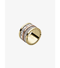 Pavé-Embellished Two-Tone Barrel Ring