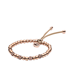 Rose Gold-Tone Bead Stretch Bracelet