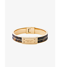 Tortoise Acetate and Gold-Tone Plaque Bracelet