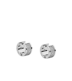 Pavé-Embellished Silver-Tone Hug Earrings