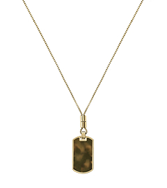 Tortoise Acetate and Gold-Tone Dog Tag Necklace