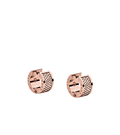 Pavé-Embellished Rose Gold-Tone Hug Earrings